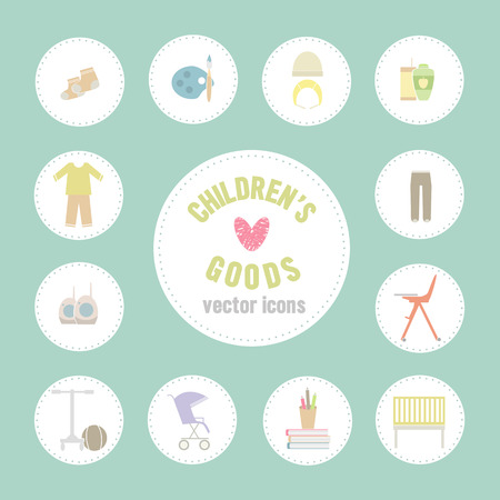 apparel part: Childrens goods vector icons. Collection of baby items  in flat style. Illustration