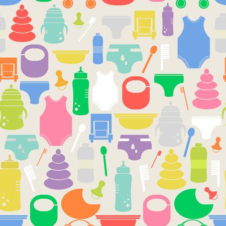 teteros: Modelo inconsútil colorido con artículos para bebés. Textura linda con diferentes artículos para bebés