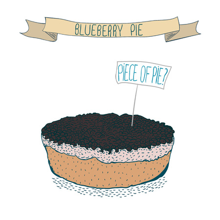 blueberry pie: Hand drawing blueberry cake.Vector Illustration isolated on white