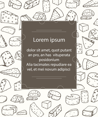 brie: Template with different kinds of cheese on background. Illustration