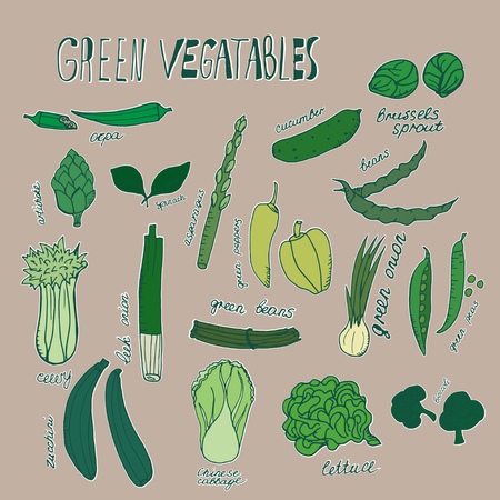 Green vegetables. Vector hand drawn objects with white outline Çizim