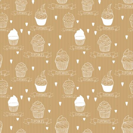 craft paper: Seamless texture craft paper with cupcakes