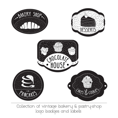 pastry: Collection of vintage bakery and pastry