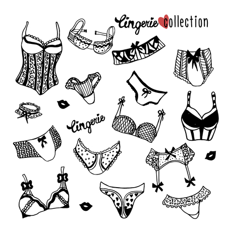 brassiere: Collection of doodle women lingerie isolated on white