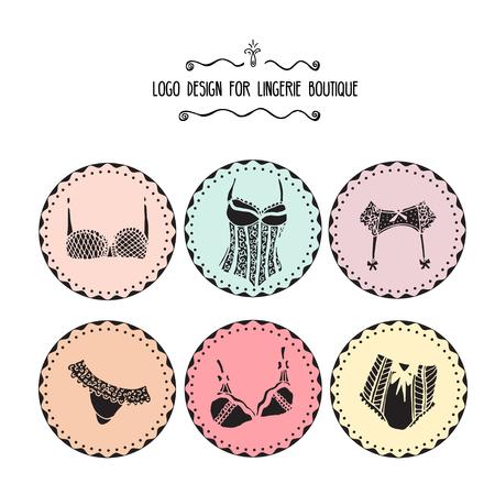 Colección de diseño del logotipo de la ropa interior. dibujado a mano la insignia de la ropa interior aislado en blanco