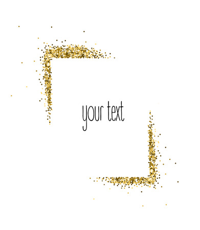 Vector gold frame from glitter isolated on white.