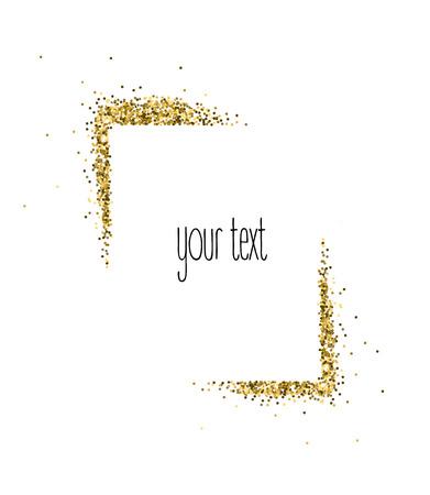 Vector gouden frame van glitter geïsoleerd op wit.