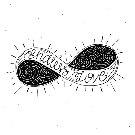 infinito simbolo: progettazione concettuale con il simbolo dell'infinito e scritte all'interno.