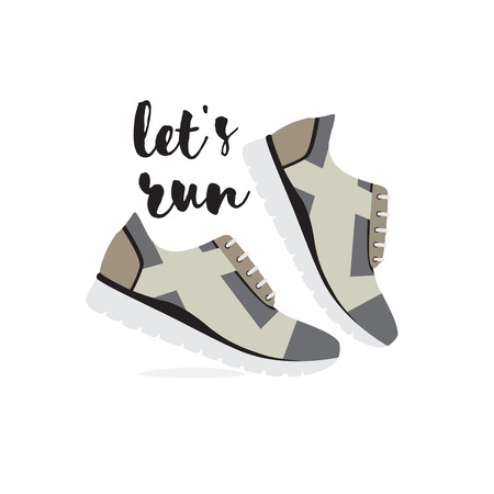 fashion shoes: Lets run flat vector illustration. Running shoes Isolated on white