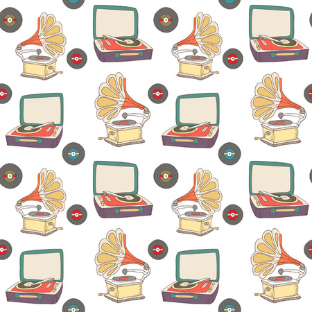 design design elemnt: Colorful retro pattern with record-player and gramophone on white background.