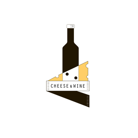 wine and cheese: Wine & cheese logo for wine store, wine and cheese festival, etc. Vector silhouette of wine bottle and a piece of cheese. Vector logo isolated on white Illustration