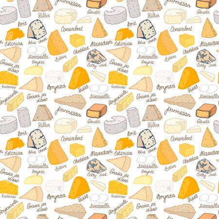 Seamless vector pattern avec différents types de fromage sur fond blanc