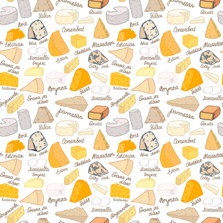 Seamless vector pattern with different types of cheese on white background Çizim