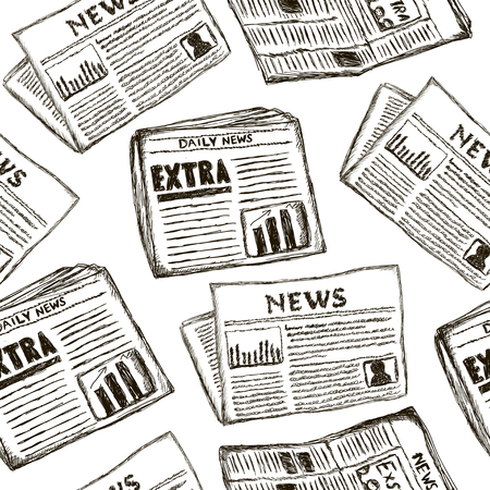 Seamless pattern with newspapers. Creative  hand drawn texture on white. Illustration