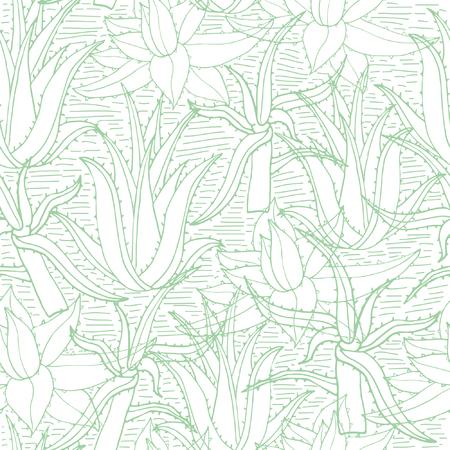 アロエベラとシームレスなベクトル パターン。創造的な手描きのテクスチャのアロエの葉白。線画の背景