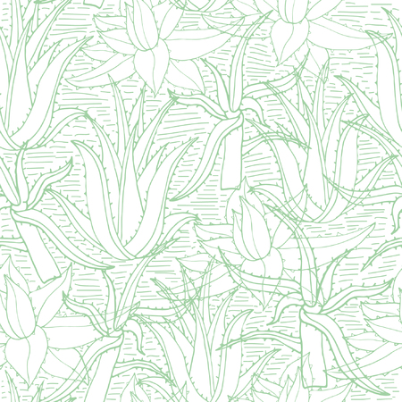 Seamless vector pattern with aloe vera. Creative  hand drawn texture aloe leaves on white. Line drawing background Ilustração