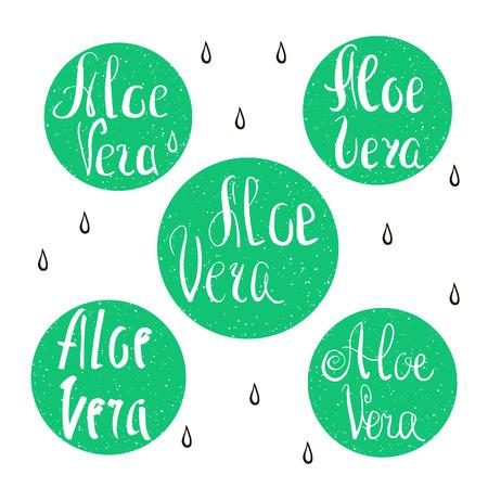 aloe vera: Vector collection of Aloe Vera badges. Illustration