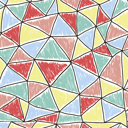 Abstract seamless Doodle Pattern with triangles. Retro design vector texture