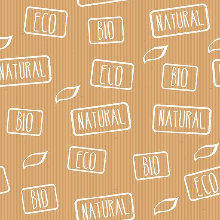 craft paper: Seamless vector texture craft paper with stamps eco, natural, bio.