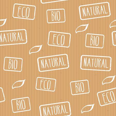 craft paper: Sin fisuras vector papel artesanal textura con sellos ecol�gico, natural, bio.