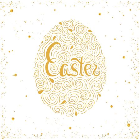 gold egg: Easter gold egg hand drawn illustration. Creative vector greeting template on white