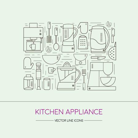 fryer: Kitchen appliance line icons set.