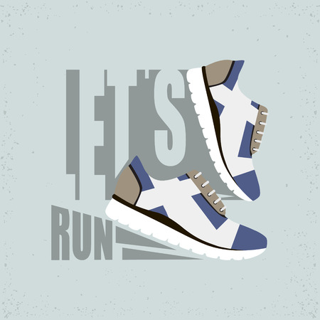 Lets run flat vector illustration. Running shoes with shadow. Ready design for sport shop,sporting events, etc.