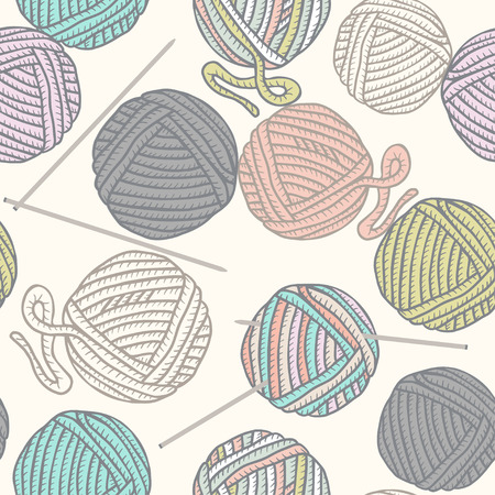 acrylic yarn: Seamless pattern with balls of yarn and knitting needles. Background in cartoon style. Illustration