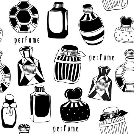 Modelo inconsútil del vector con las botellas de perfume. frascos de perfume de la vendimia en blanco. Mano dibujado textura