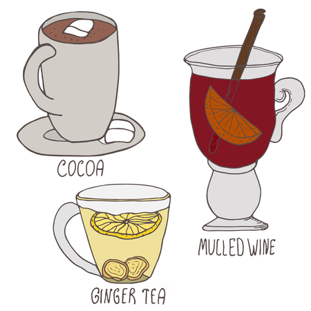 sirup: Set of winter hot drinks. Hand drawn vector illustration. Cocoa, mulled wine and ginger tea on white background