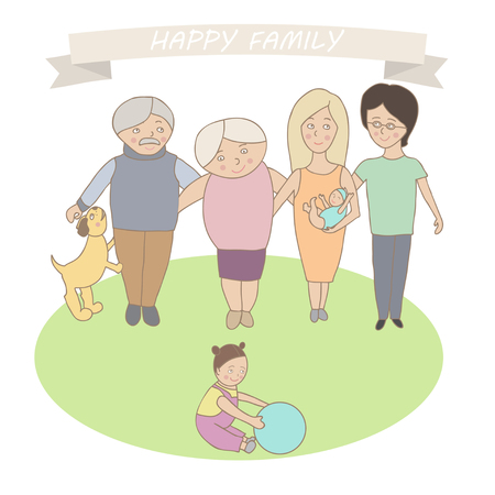 three generations: Social concept - happy family three generation together Grandfather, grandmother, daughter, child, mother, father and the dog.
