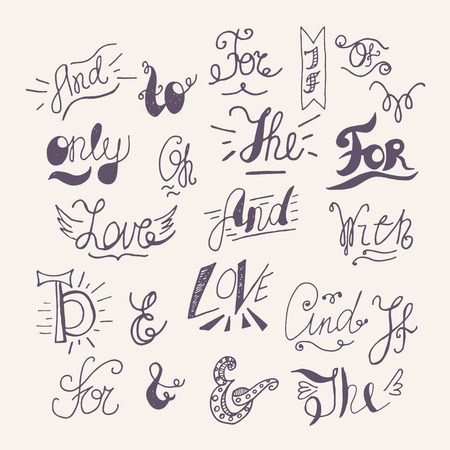 swashes: Hand drawn ampersands and catchwords for your design. Decorative elements. Retro typography with swirls. Hand lettering. Illustration