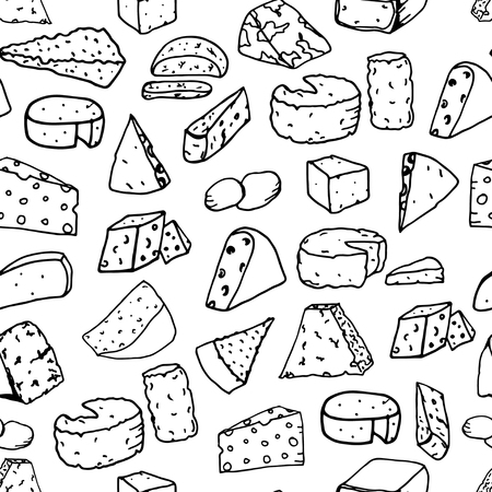 brie: Seamless vector pattern with different types of cheese on white background. Doodle cheese texture