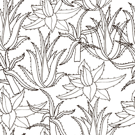 Seamless vector pattern with aloe vera. Creative  hand drawn texture aloe leaves on white. Line drawing background. Monochrome  hand drawn floral pattern Illustration