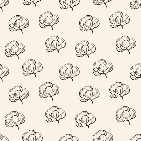 agriculture wallpaper: Seamless vector pattern with cotton. Black outline cotton bolls on beige background Illustration