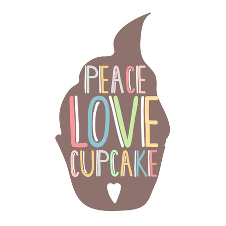 cupcakes isolated: Silhouette cupcakes with hand lettering inside. Peace,love, cupcake text. Vector Illustration isolated on white. Template for poster or confectionery