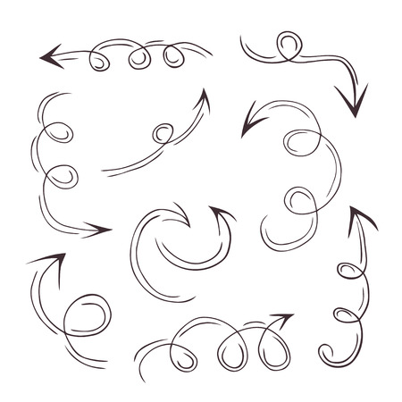sideways: Collection of hand drawn doodle style arrows in various directions and styles