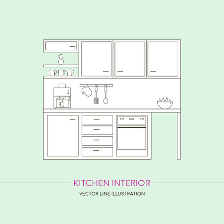home furniture: Kitchen interior with furniture. Template with line vector illustration