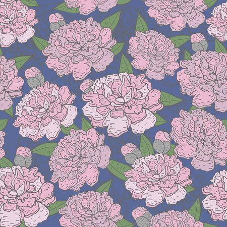 soulful: Beautiful Seamless blooming peony pattern on blue background, vector illustration Illustration