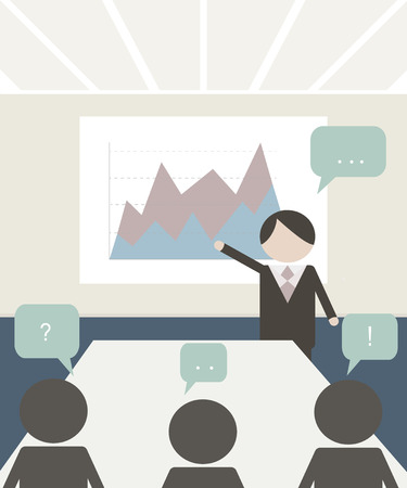 conference room: Conference room illustration. People at the conference. Business meeting template
