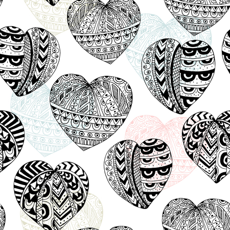 ink drawing: Seamless vector pattern with ink hand drawn hearts. Black and white Doodle Texture. Ethnic ink drawing
