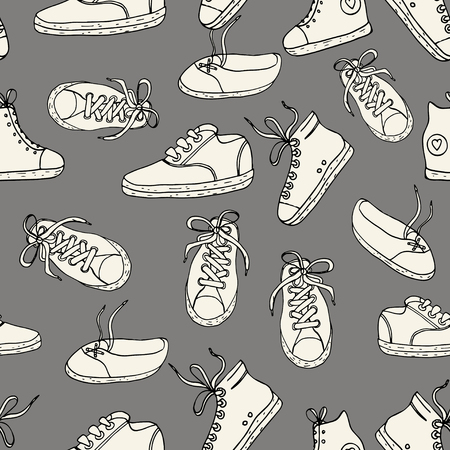 converse: Seamless pattern with sneakers Vector background.