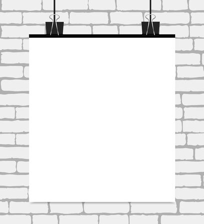 billboard background: Vector white blank poster on a white brick wall. Vector template with text place.