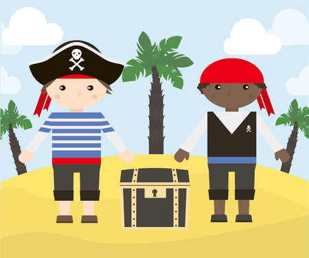 rascal: Two cartoon characters of pirates with treasure chest on the island. Vector illustration of pirates