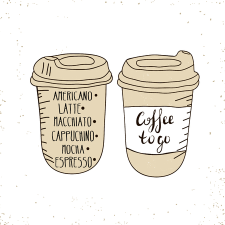 to go cup: Hot Coffee Disposable to go Cup with lids and text - Coffee to go isolated on a white. Hand drawn illustration Illustration