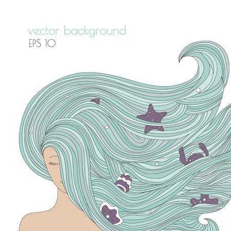 abstract portrait: Abstract portrait of woman with long blue beautiful hair. Ocean girl with and sea elements in the hair. Vector hand drawn illustration.