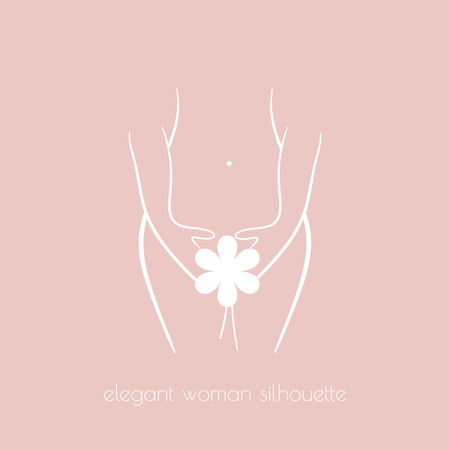 topless women: Elegant woman silhouette for intimate hygiene, woman health, skin and body care, diet, fitness etc.