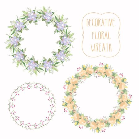 peon: Floral Frame Collection. Set of elegant floral wreath. Design for wedding invitations and birthday cards. Vector Illustration Illustration