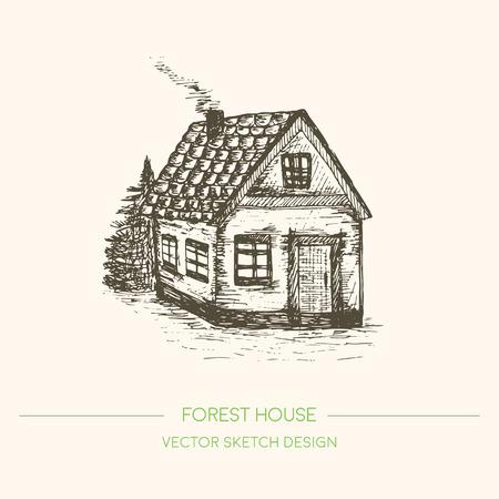 Houten huis in retro schets stijl. Vector uitstekende achtergrond. getekende oude huis Hand. Sketch Vector Illustration