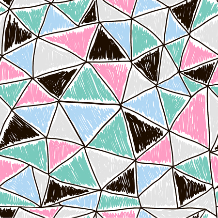 repeat pattern: Abstract seamless doodle pattern. Retro triangles texture. Vector Illustration Illustration